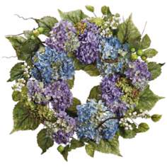 Blue and Lavender Faux Silk Hydrangea Wreath
