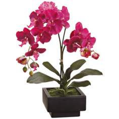 "Potted Violet 24"" High Faux Orchid Plant"