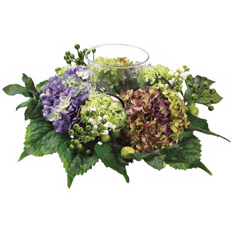 Hydrangea and Snowbell Faux Silk Flower Centerpiece