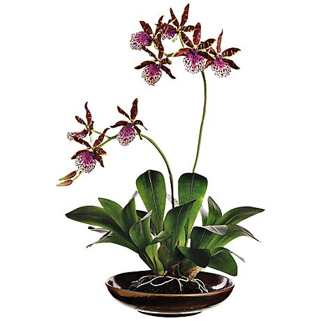 "Green and Purple Zycopettalum 14""H Faux Silk Plant in Pot"