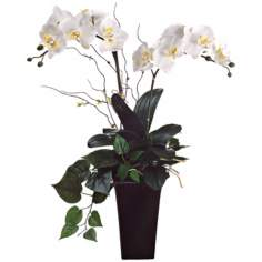 "Cream and White 30"" High Faux Orchids with Greenery"