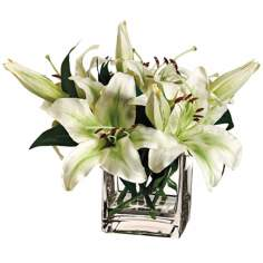 Pearl White Stargazer Lily Silk Flowers in Glass Vase