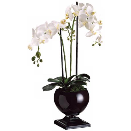 "Potted White Phalaenopsis 29"" High Faux Silk Orchids"