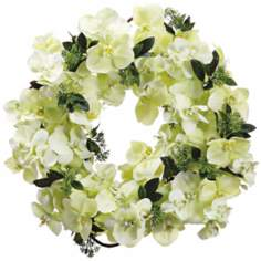 Light Green Phalaenopsis and Skimma Faux Silk Wreath