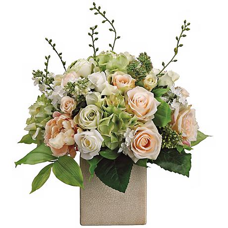 "Peony Rose and Hydrangea 19""H Faux Silk Floral Arrangement"