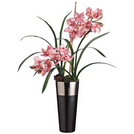 Burgundy and Rubrum Cymbidium Faux Silk Flowers in Pot