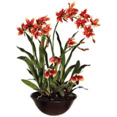 Oncidium and Lady's Slipper Silk Orchid Flowers in Pot
