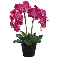 "Potted Violet Phalaenopsis 24"" High Faux Silk Orchids"
