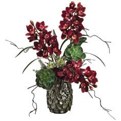 Cymbidium and Succulent Faux Silk Floral Arrangement