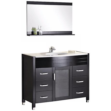 "Waterfall 47 1/4"" Wide Espresso Single Sink Vanity Set"