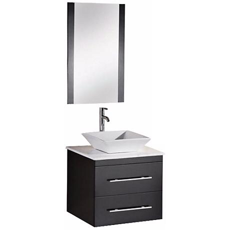 "Elton Espresso White Marble 24"" Wide Floating Vanity Set"