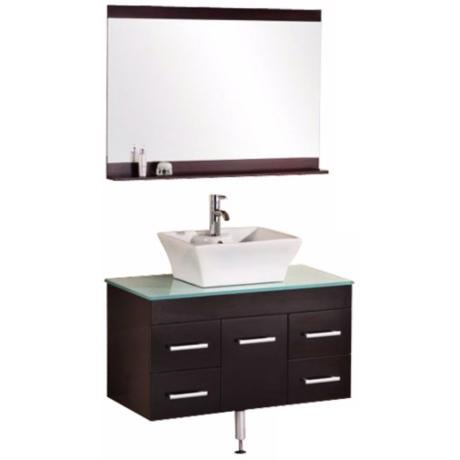 "Madrid Espresso 36"" Wide Wall-Mount Vanity Set"