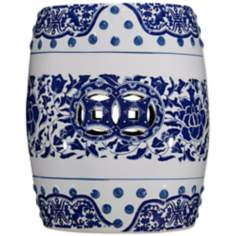 White and Blue Floral Porcelain Garden Accent