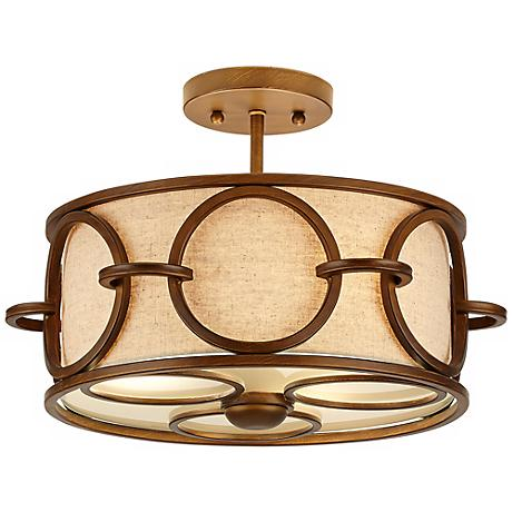 "Pandora 14"" Wide Semi-Flush Cinnamon Ceiling Light"
