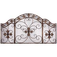 Double Fleur de Lis Folding Fireplace Screen