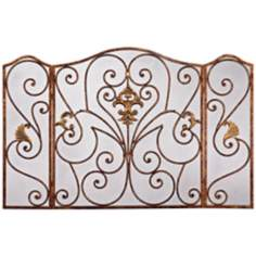 Antique Bronze Iron Fireplace Screen