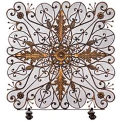 Decorative Brass Single Pane Fireplace Screen