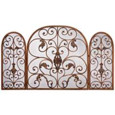 Bronze Leaf Scroll Folding Fireplace Screen