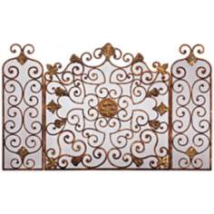 Copper Bronze Iron Folding Fireplace Screen