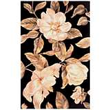 Catalina Collection Black Magnolia Area Rug
