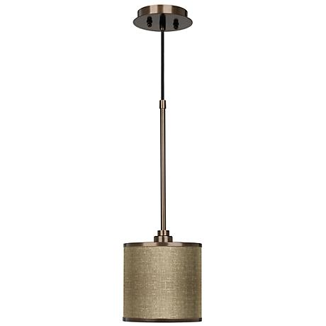 Burlap Print Giclee Glow Bronze Mini Pendant Light