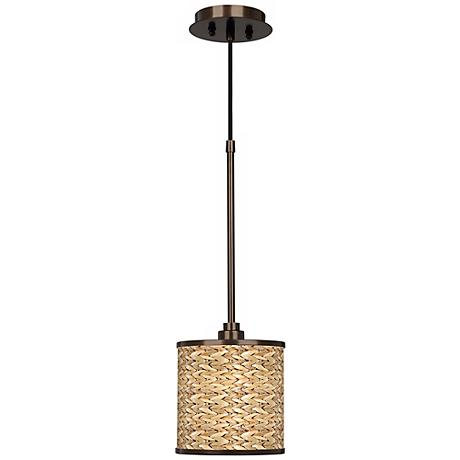 Seagrass Giclee Glow Bronze Mini Pendant Light