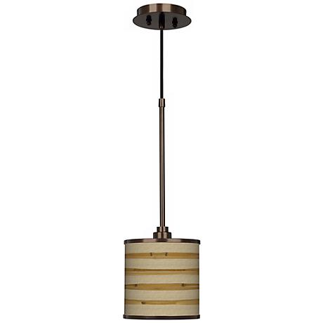 Bamboo Wrap Giclee Glow Bronze Mini Pendant Light