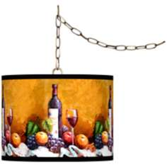 "Wine and Fruit Giclee Glow 13 1/2"" Brass Swag Pendant"