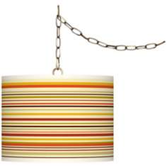 "Stacy Garcia Lemongrass Stripe 13 1/2"" Brass Swag Lamp"