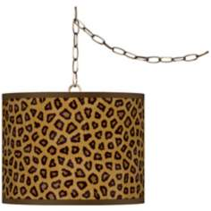 "Safari Cheetah Giclee Glow 13 1/2"" Brass Swag Pendant"