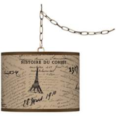 "Letters to Paris Giclee Glow 13 1/2"" Brass Swag Pendant"