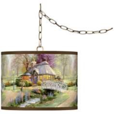 "Thomas Kinkade Friendship Cottage 13 1/2"" Brass Swag Lamp"