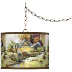 "Thomas Kinkade Stillwater Cottage 13 1/2"" Brass Swag Lamp"