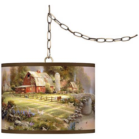 "Thomas Kinkade Sunset at Riverbend Farm 13 1/2"" Brass Swag"