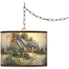 "Thomas Kinkade A Peaceful Time 13 1/2"" Brass Swag Lamp"