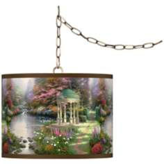 "Thomas Kinkade Garden of Prayer 13 1/2"" Brass Swag Lamp"
