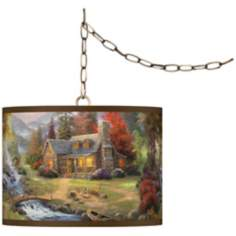 "Thomas Kinkade Mountain Paradise 13 1/2"" Brass Swag Lamp"