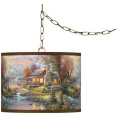 "Thomas Kinkade Nature's Paradise 13 1/2"" Brass Swag Lamp"