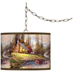 "Thomas Kinkade A Peaceful Retreat 13 1/2"" Brass Swag Lamp"