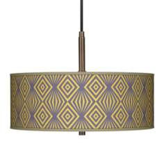 "Deco Revival Giclee 16"" Wide Bronze Pendant Chandelier"