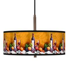 "Wine and Fruit Giclee Glow 16""W Bronze Pendant Chandelier"