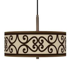 "Cambria Scroll Giclee Glow 16""W Bronze Pendant Chandelier"