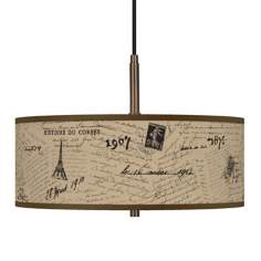 "Letters to Paris Giclee Glow 16"" Wide Bronze Pendant"