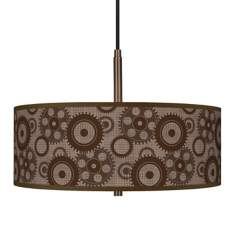 "Industrial Gears 16"" Wide Bronze Pendant Chandelier"