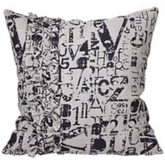 "Utilitarian Olivia 18"" Square Gray and Black Throw Pillow"