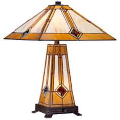 Mission Gold Tiffany Style Table Lamp with Night Light