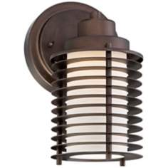 Possini Euro Grid English Bronze LED Outdoor Wall Light