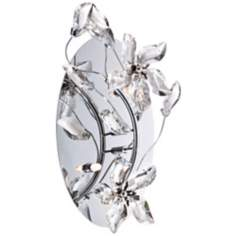"Crystal Flower 2-Light 9"" Wide Polished Chrome Wall Sconce"