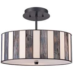 "Tiffany Style 14 1/2"" Wide Striped Art Glass Ceiling Light"
