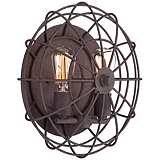 "Industrial Cage 14"" Wide Dark Rust Wall Sconce"